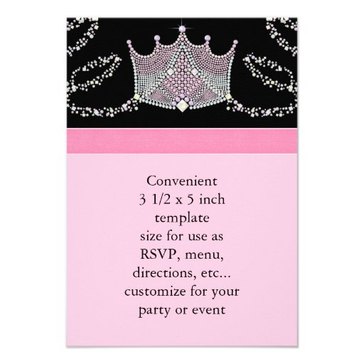 Pink Black Baby Girl Princess Baby Shower RSVP Announcement