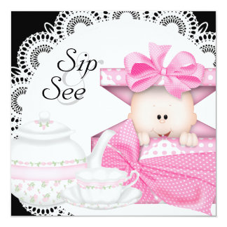 Pink Black Baby Girl Sip and See Card