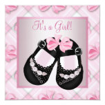 Pink Black Baby Shoes Pink Black Baby Girl Shower Personalised Invite