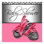 Pink Black Baby Shower Invitations