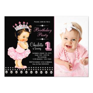 Pink Black Ballerina Princess Girl Birthday Party 11 Cm X 16 Cm Invitation Card