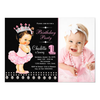 Pink Black Ballerina Princess Girl Birthday Party 13 Cm X 18 Cm Invitation Card