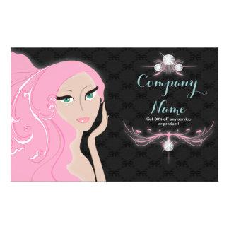 pink black beauty SPA hair salon makeup artist 14 Cm X 21.5 Cm Flyer