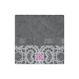 Pink Black Bling Monogram Stone Magnet