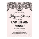Pink & Black Brocade Lace Lingerie Shower Invite 13 Cm X 18 Cm Invitation Card