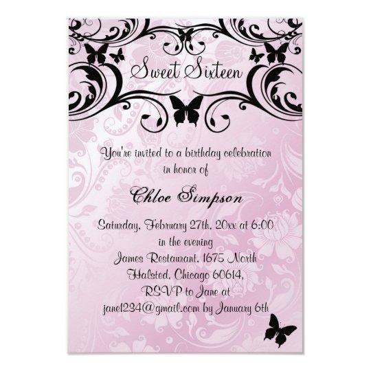 Pink & Black Butterfly & Flower Sweet16 Invitation