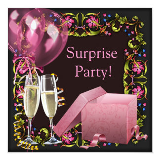 Pink Black Champagne Balloons Surprise Party 13 Cm X 13 Cm Square Invitation Card