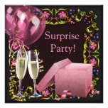 Pink Black Champagne Balloons Surprise Party Custom Announcements