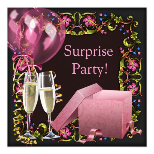 Pink Black Champagne Balloons Surprise Party Custom Announcement