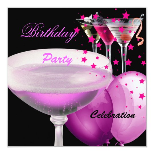 Pink Black Champagne Cocktails Birthday Party Card