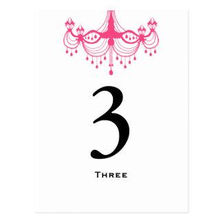 Pink & Black Chandelier Table Number Card