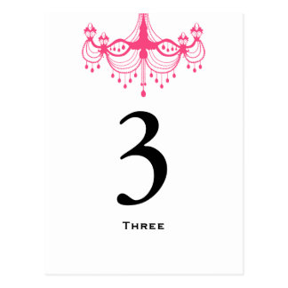 Pink & Black Chandelier Table Number Card Postcard