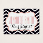 Pink Black Chevron Hairdresser Salon Appointment Business Card