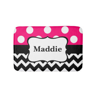 Pink Black Chevron Monogram Bathmat