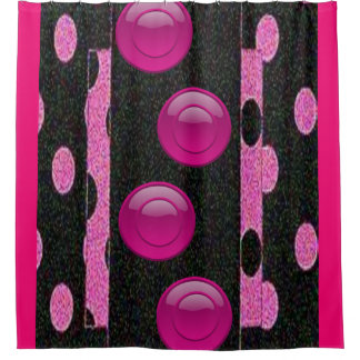 Pink black circles showercurtain shower curtain
