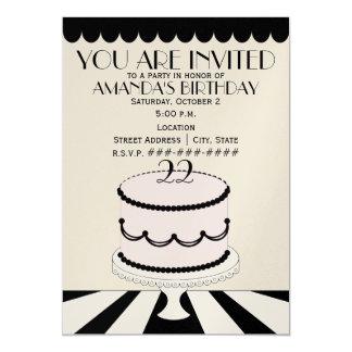 "Pink & Black Classy Birthday Cake / Birthday Party 5"" X 7"" Invitation Card"