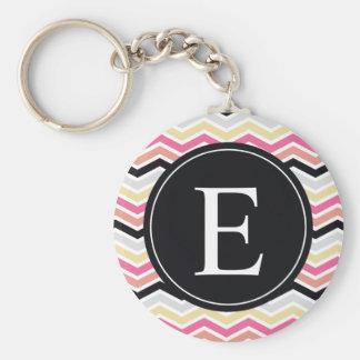 Pink Black Coral Chevron Monogram Basic Round Button Key Ring