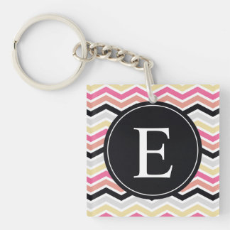 Pink Black Coral Chevron Monogram Single-Sided Square Acrylic Keychain