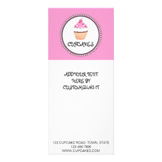 PINK BLACK CUPCAKE BAKERY FLYER CUSTOMISED RACK CARD