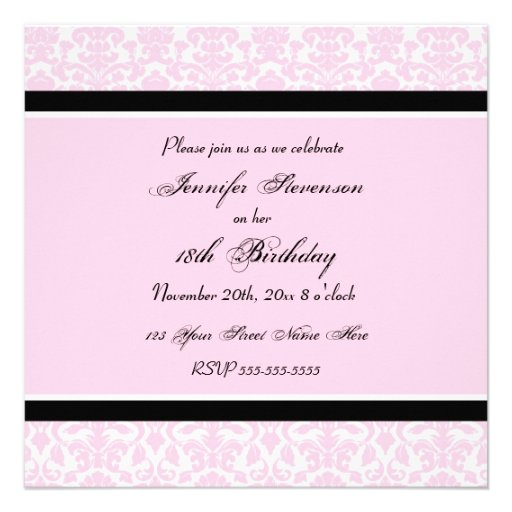 Pink Black Damask 18th Birthday Party Invitations