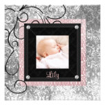 Pink Black Damask Baby Girl Photo Birth Custom Invitation