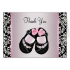 Pink Black Damask Baby Girl Shower Thank You Card
