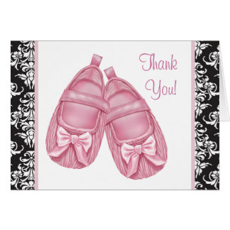 Pink Black Damask Booties Baby Thank You Cards Note Card