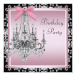 Pink Black Damask Chandelier Birthday Party 13 Cm X 13 Cm Square Invitation Card