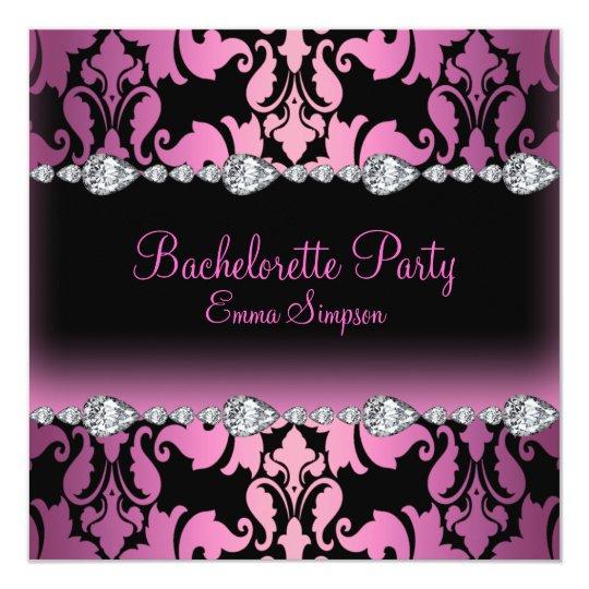 Pink & Black Damask & Diamond Bachelorette Invite