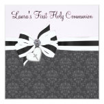 Pink Black Damask Heart Cross First Communion Personalised Invitations