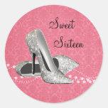 Pink Black Damask High Heel Shoes Stickers
