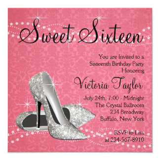 Pink Black Damask High Heels Sweet 16 Party 13 Cm X 13 Cm Square Invitation Card