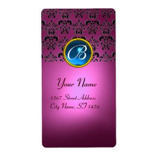 PINK BLACK DAMASK MONOGRAM, blue sapphire turquase Shipping Label