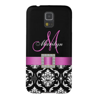 PINK, BLACK DAMASK MONOGRAM CASES FOR GALAXY S5