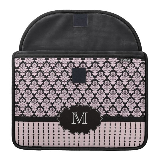 Pink black damask monogram macbook pro sleeve