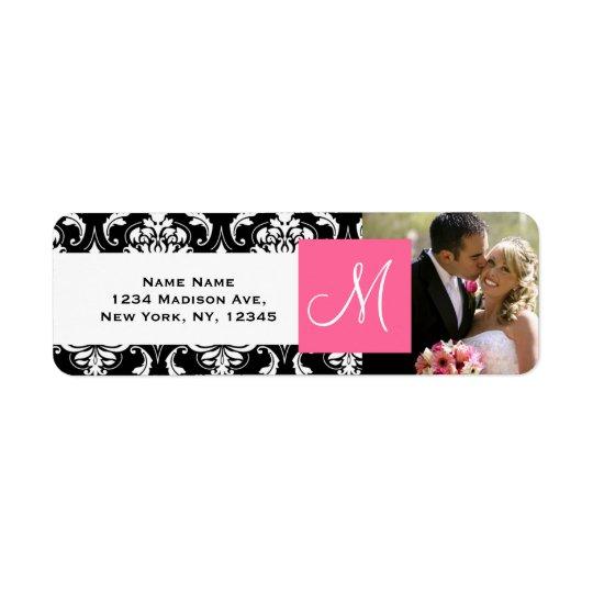Pink Black Damask Monogram Photo Wedding