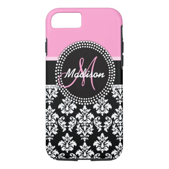 Pink Black Damask Pattern Monogram iPhone 8/7 Case