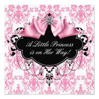 Pink Black Damask Princess Baby Shower Card