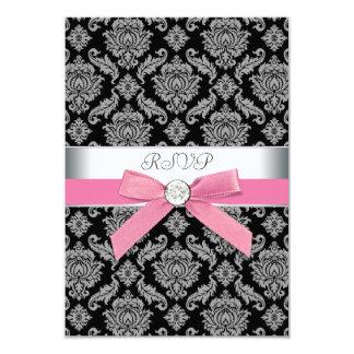 Pink Black Damask RSVP 9 Cm X 13 Cm Invitation Card