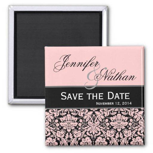 Pink & Black Damask Save the Date Wedding Magnet Fridge Magnet