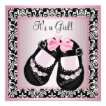 Pink Black Damask Shoes Baby Girl Shower 13 Cm X 13 Cm Square Invitation Card