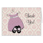 Pink Black Damask Shoes Baby Girl Thank You Cards