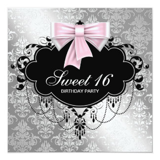 Pink Black Damask Sweet 16 Birthday Party 13 Cm X 13 Cm Square Invitation Card