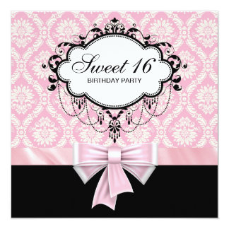 Pink Black Damask Sweet 16 Birthday Party 13 Cm X 13 Cm Square Invitation Card