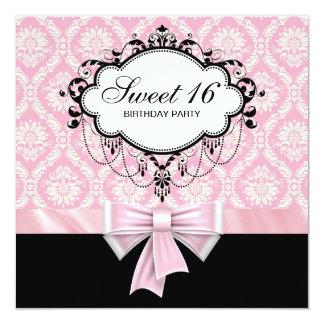 Pink Black Damask Sweet 16 Birthday Party Card