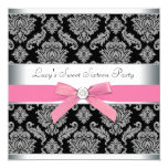 Pink Black Damask Sweet 16 Birthday Party Personalised Announcement