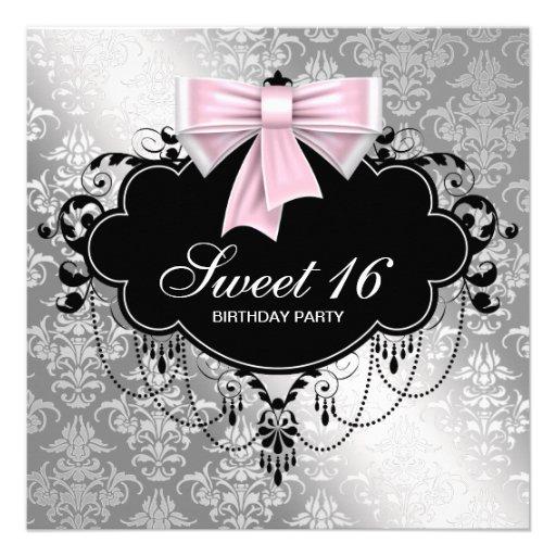 Pink Black Damask Sweet 16 Birthday Party Custom Invite