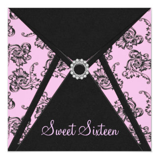 Pink Black Damask Sweet 16 Party 13 Cm X 13 Cm Square Invitation Card