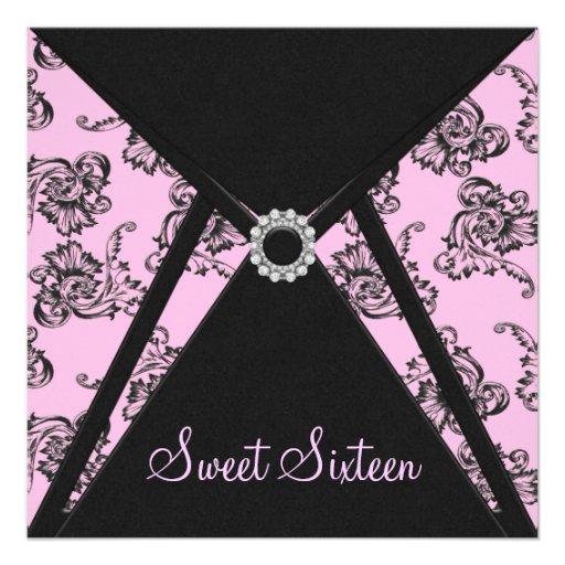 Pink Black Damask Sweet 16 Party Custom Invitations