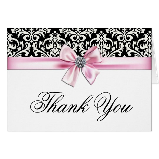 Pink Black Damask Thank You Cards